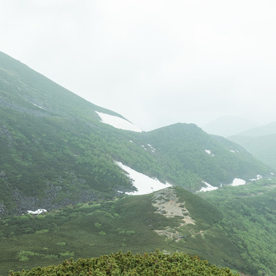 霧(ガスる)が多くて全景を楽しむことができない乗鞍新登山道のフリー素材