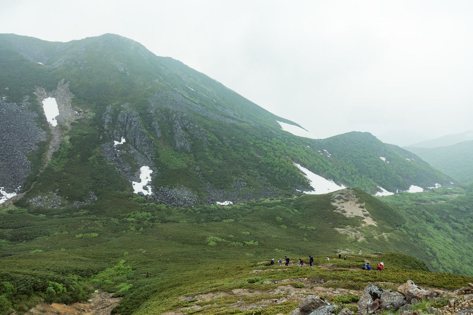 「7月なのにまだ雪が残る乗鞍新登山道を歩く登山者」の写真