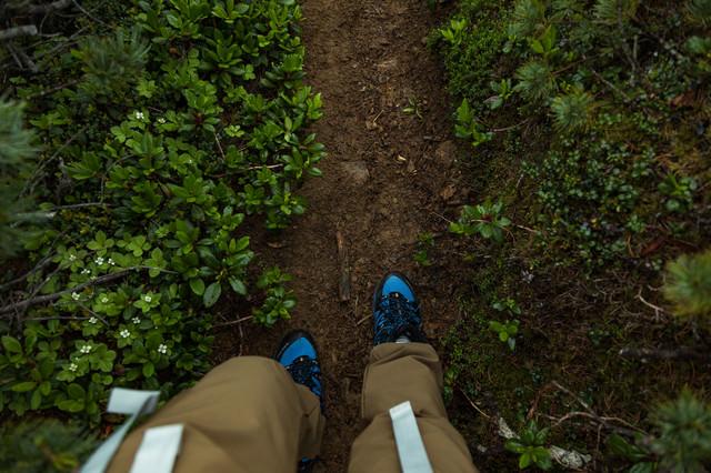 雨が降って泥濘んだ足元(乗鞍新登山道)の写真