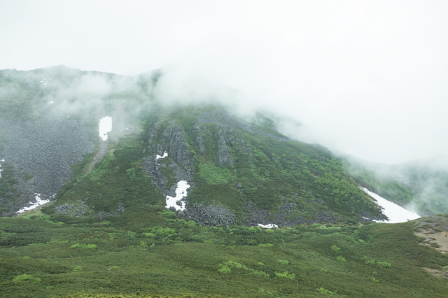 ガスった山もいい雰囲気の写真