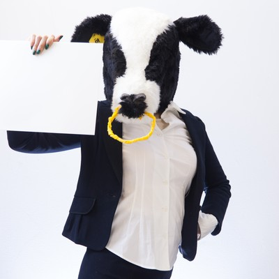 フリップを見せる牛女の写真
