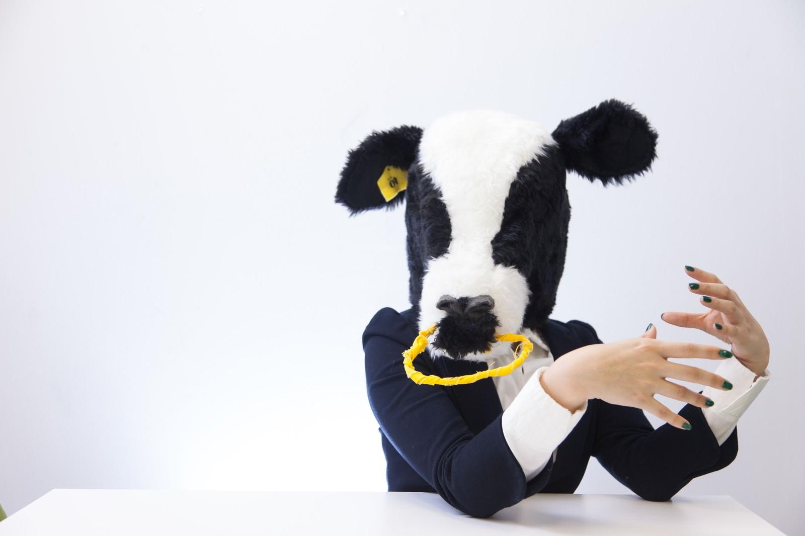 「人事担当の牛にダメ出しされる」の写真[モデル:古性のっち]