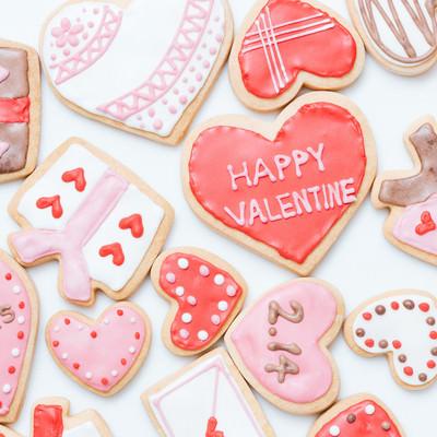 ハートいっぱいのバレンタインクッキーの写真