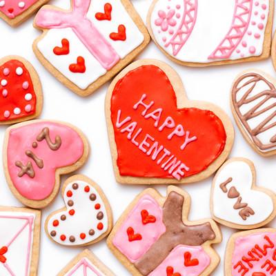ハート型クッキー(HAPPY VALENTINE)の写真