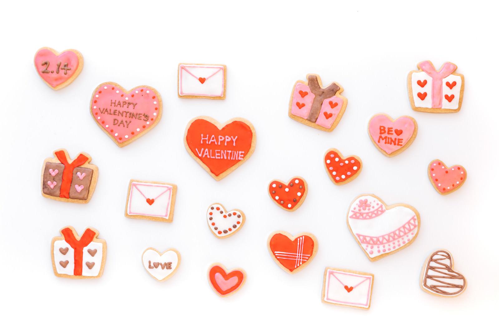 「バレンタイン用のアイシングクッキー」の写真