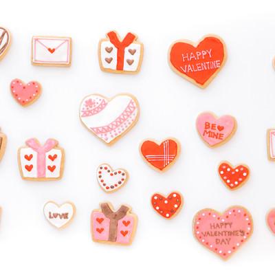 バレンタインに使いやすいハートのクッキーの写真