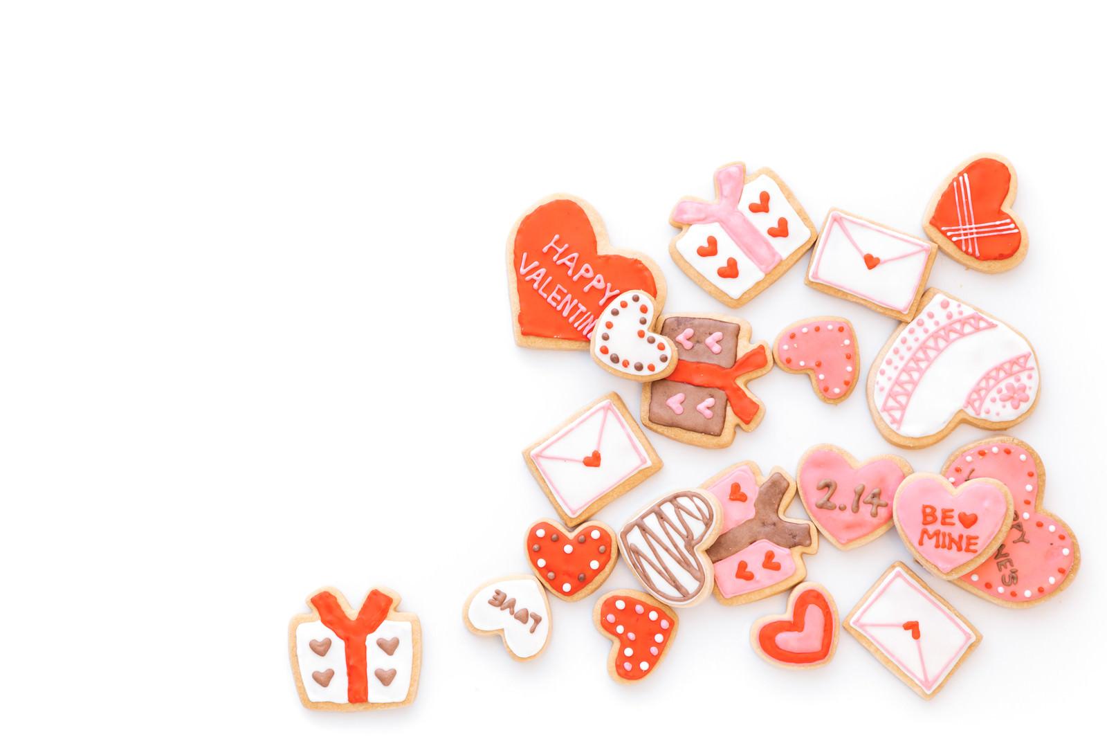 「バレンタインのハート型クッキー(背景用)」の写真