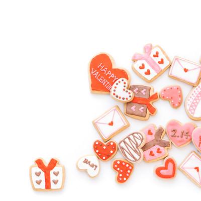 バレンタインのハート型クッキー(背景用)の写真