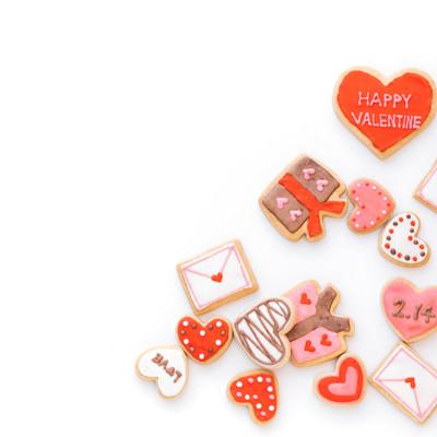 ハートいっぱいのバレンタイン素材の写真