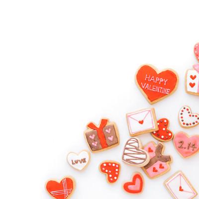 バレンタイン用のハート素材(アイシングクッキー)の写真