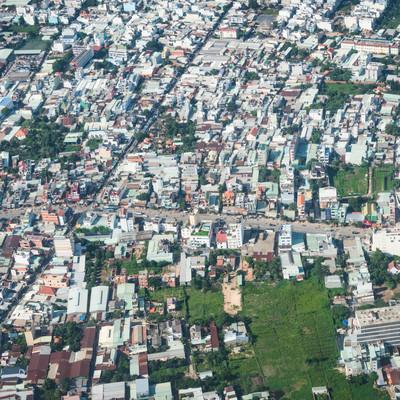 ベトナムの市街地(上空)の写真