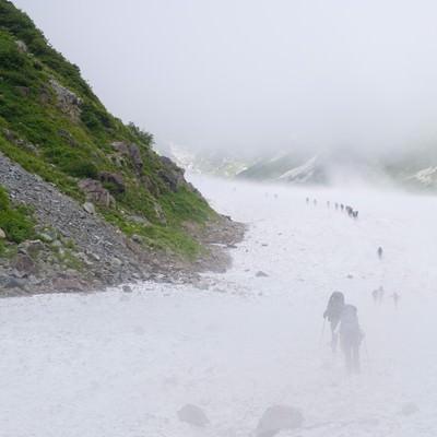 ホワイトアウトする白馬大雪渓に挑む登山者達(白馬岳)の写真