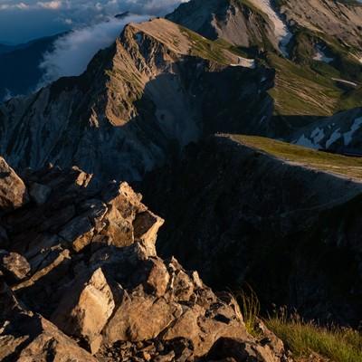 夏の白馬岳(しろうまだけ)の夕焼けの写真
