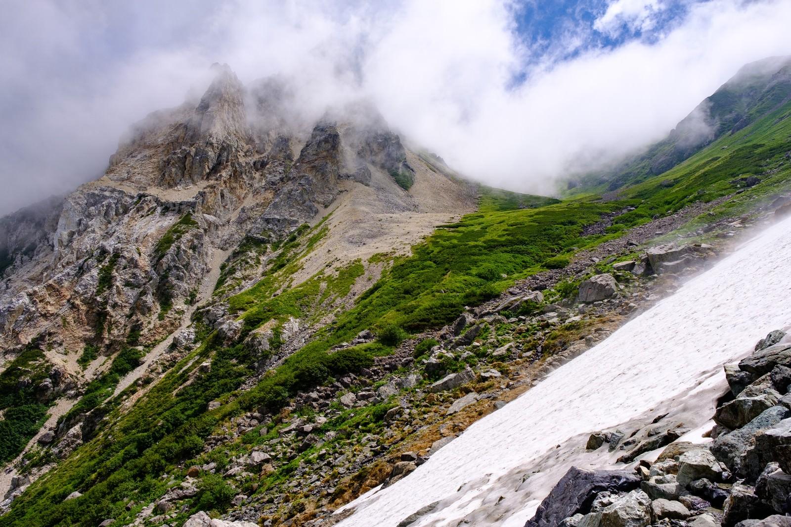 「大雪渓越しに見る山々の風景(白馬岳)」の写真