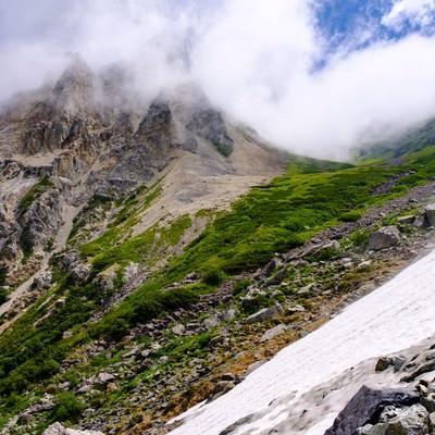 大雪渓越しに見る山々の風景(白馬岳)の写真