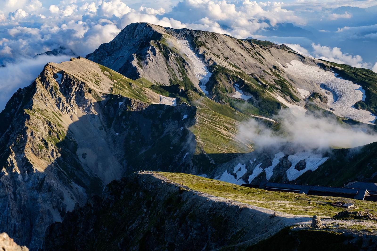 「杓子岳と白馬槍ヶ岳」の写真