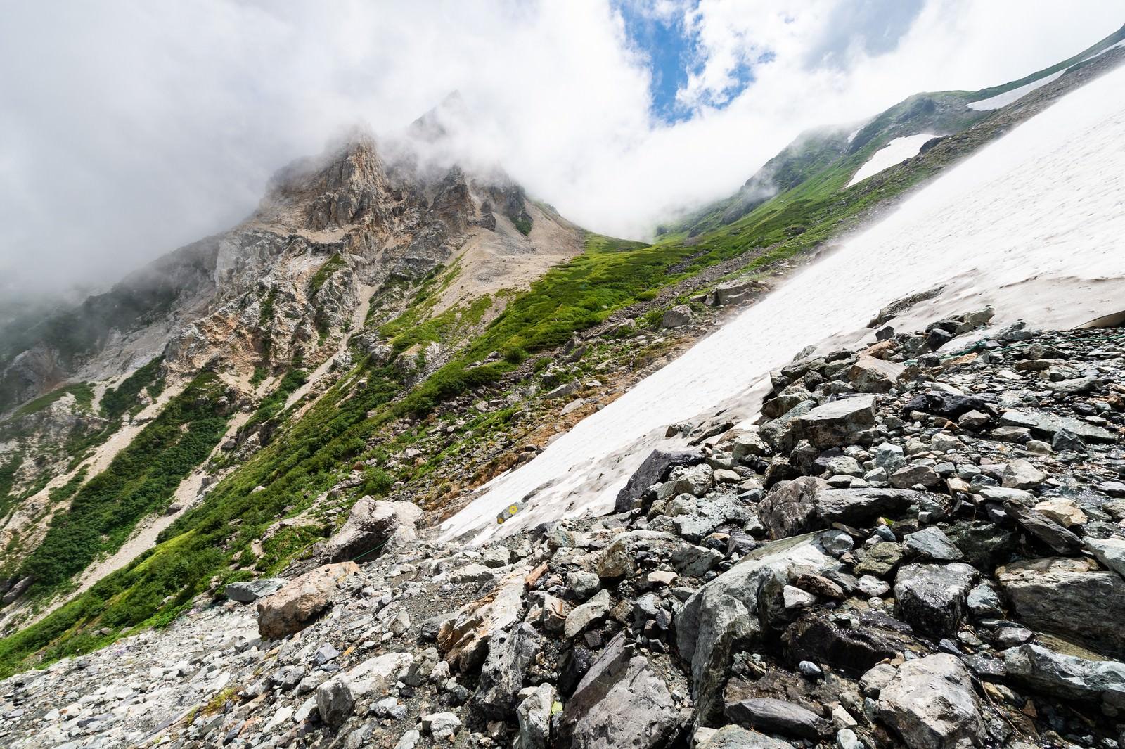 「白馬大雪渓と荒々しい岩肌(白馬岳)」の写真