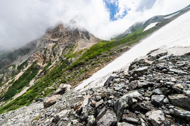 白馬大雪渓と荒々しい岩肌(白馬岳)の写真