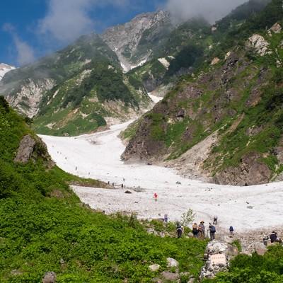 白馬大雪渓登山ルートの取り付き(白馬岳)の写真