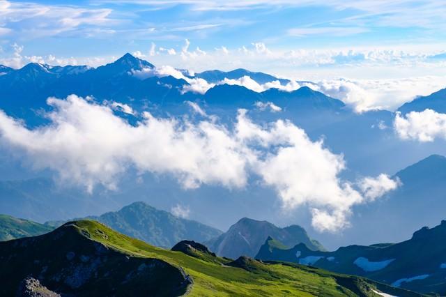 白馬岳の彼方に見える雲海と剣岳の写真