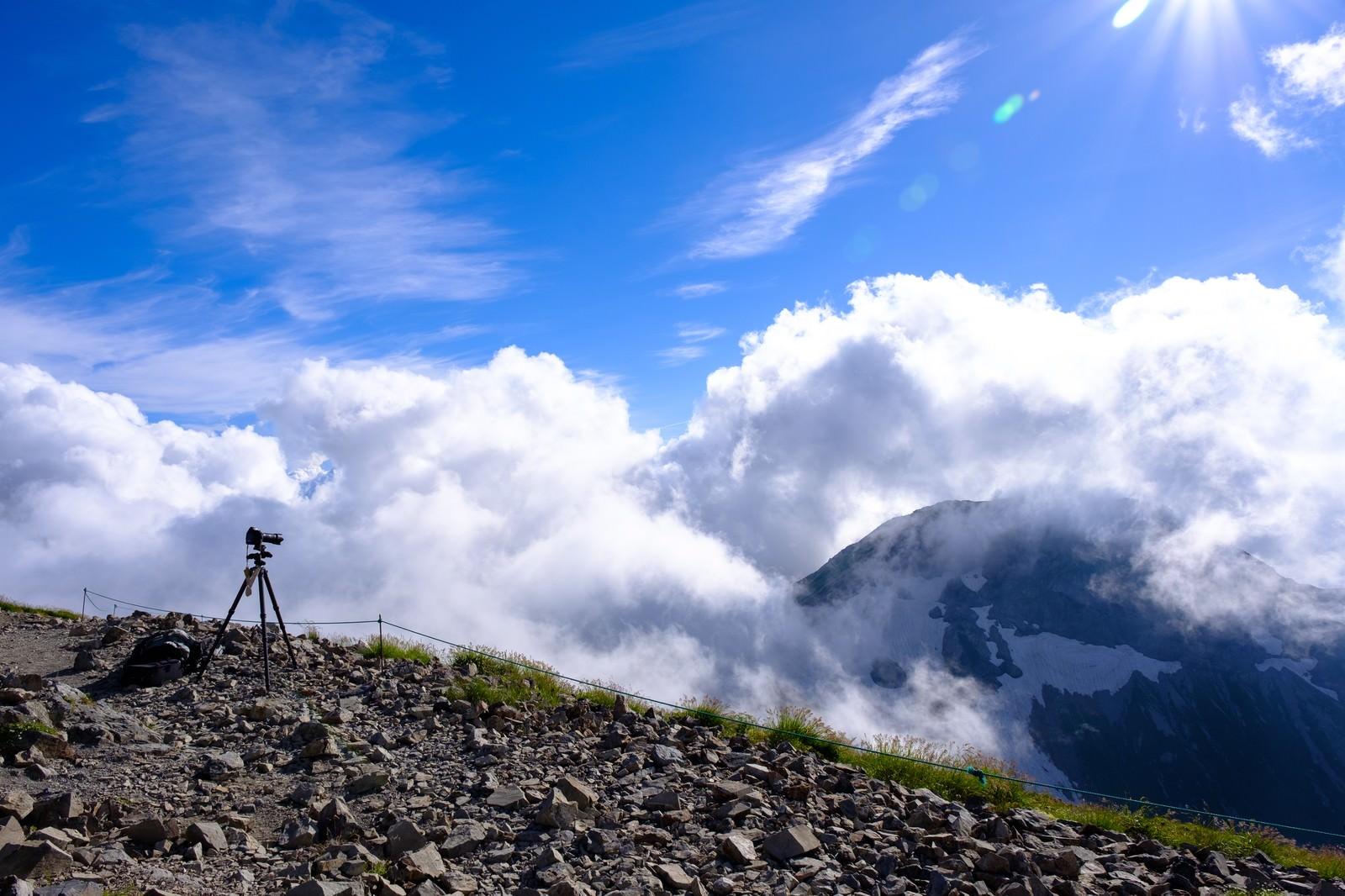 「白馬岳山頂の眼下に見える雲」の写真