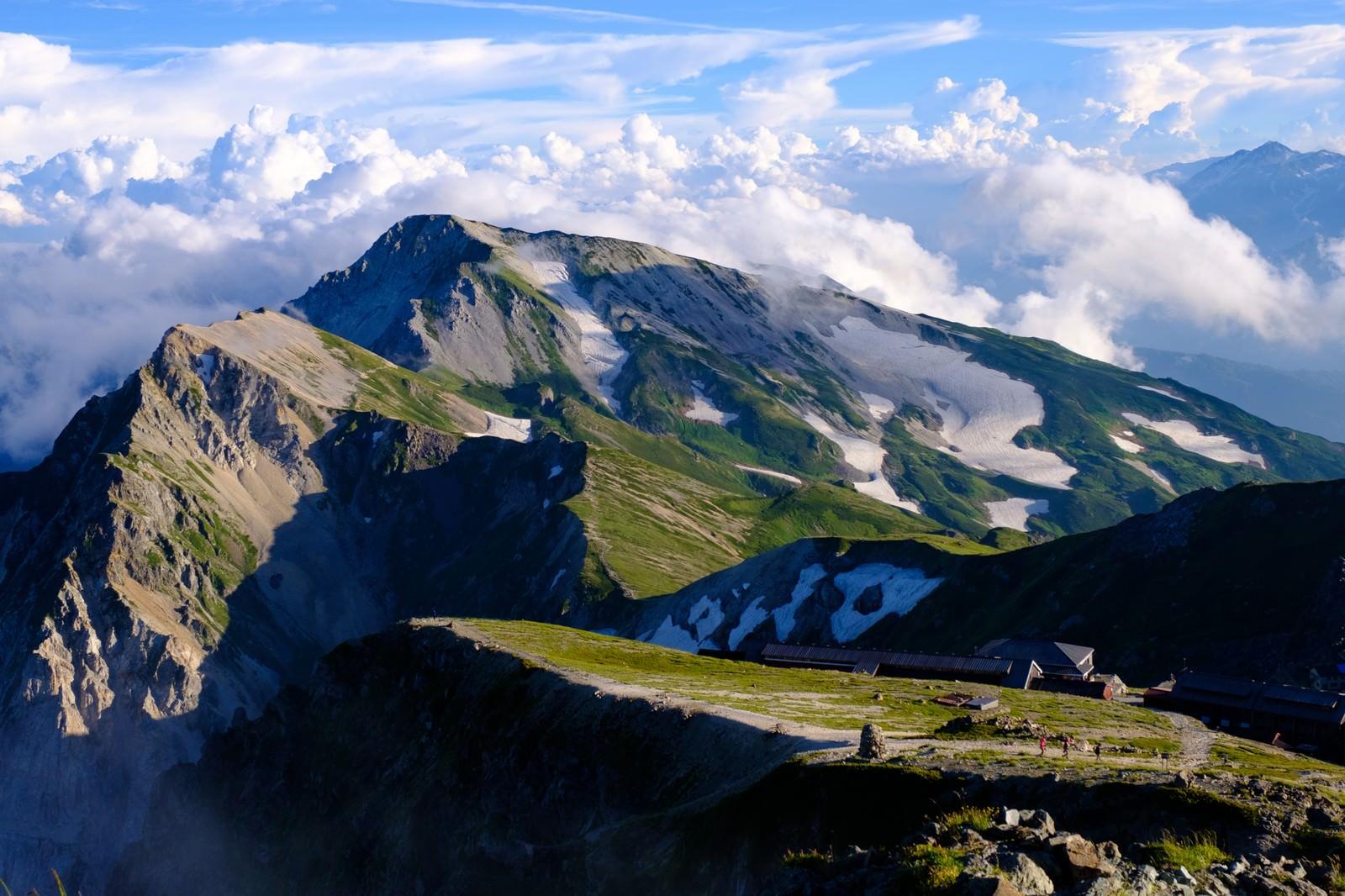 「白馬岳(しろうまだけ)山頂からの白馬連峰と白馬山荘」の写真