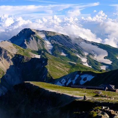 白馬岳(しろうまだけ)山頂からの白馬連峰と白馬山荘の写真