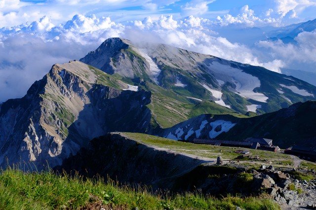 白馬岳山頂から望む白馬連峰の写真