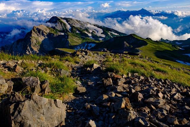 白馬岳稜線の登山道から見る白馬連峰と立山連峰の写真