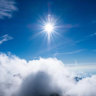 上空の強い日差しと青空の写真