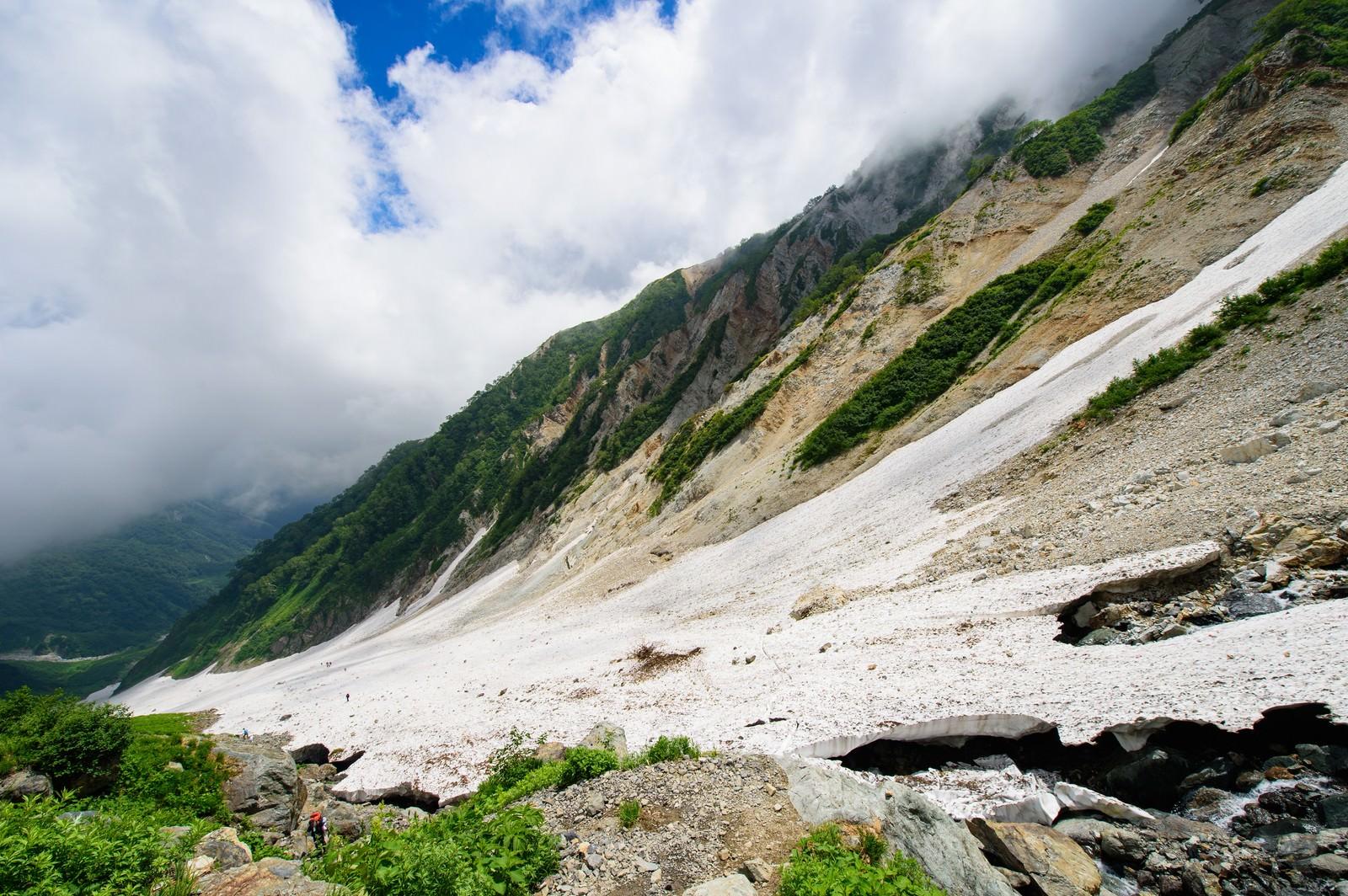 「白馬大雪渓の傾斜(白馬岳)」の写真