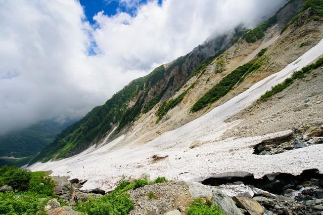 白馬大雪渓の傾斜(白馬岳)の写真