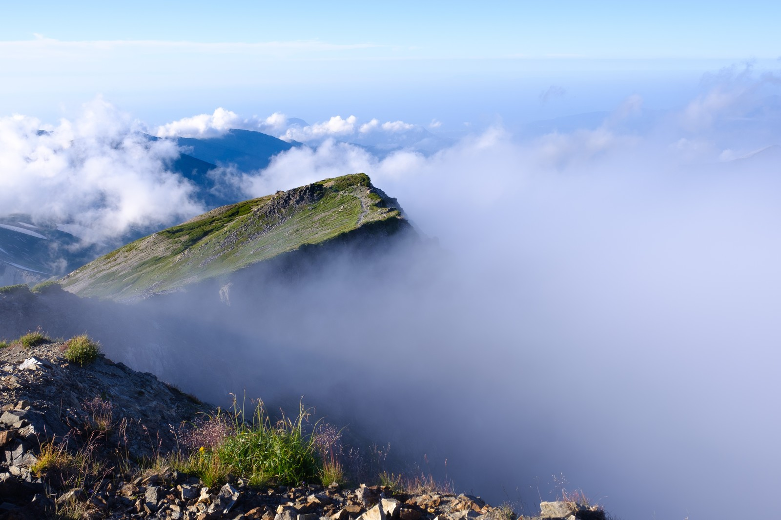 「雲海に浮かびあがる白馬連峰」の写真