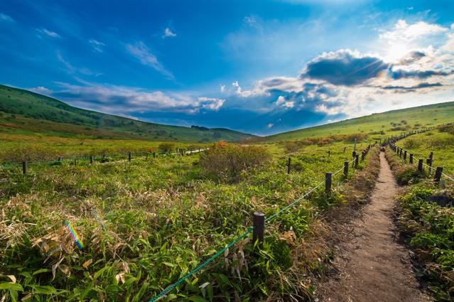 「景観を楽しみながらハイキング(車山の遊歩道)」のフリー写真素材