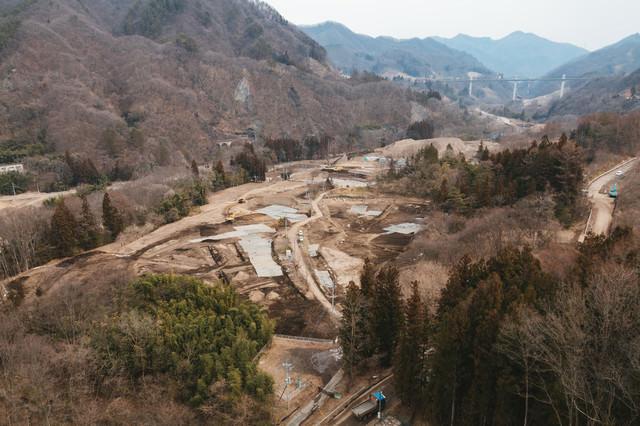 八ッ場ダム工事中(冬)の写真
