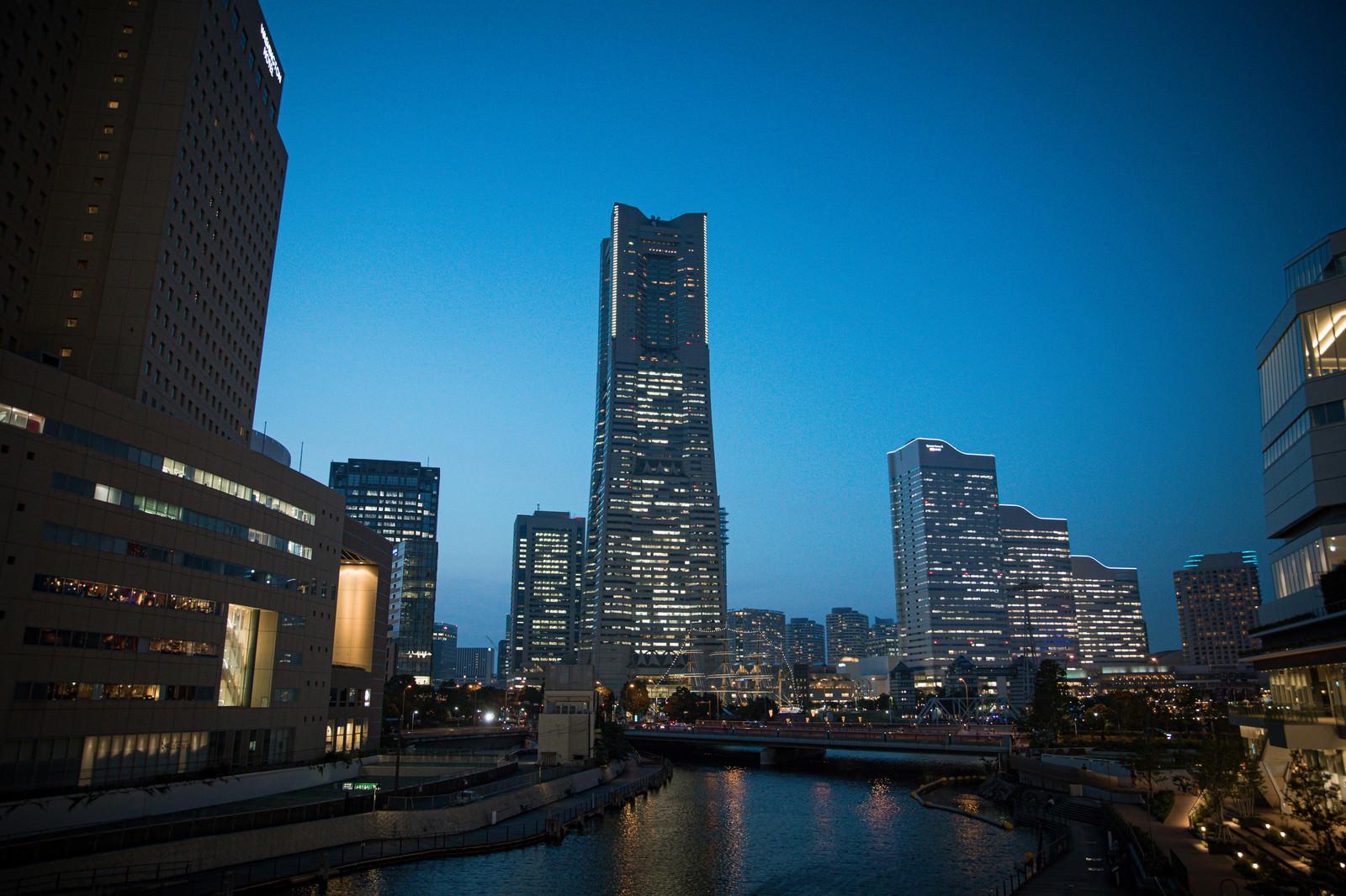 「さくらみらい橋から撮影したランドマークタワーの夜景」の写真