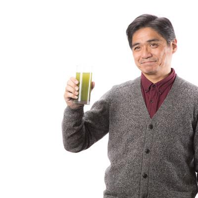 「青汁飲んでますか?」の写真素材