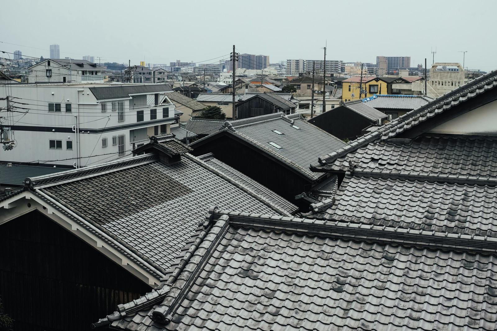 「屋根瓦の密集する住宅街」の写真