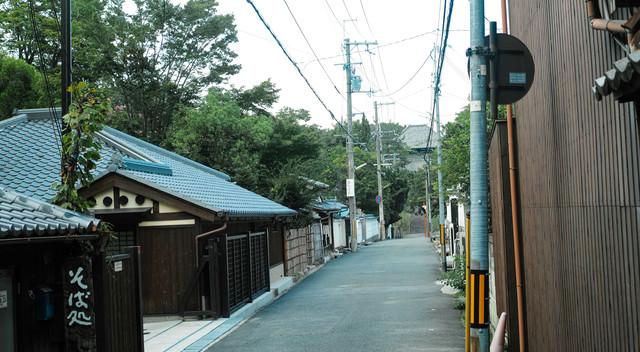 そば処から続く裏路地の写真