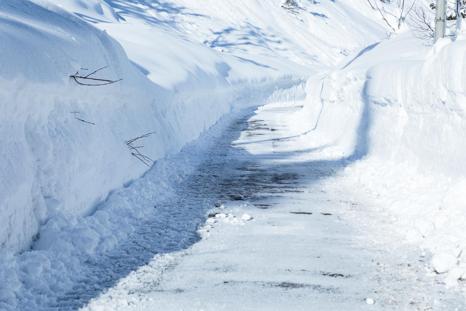 「雪山の道路」の写真
