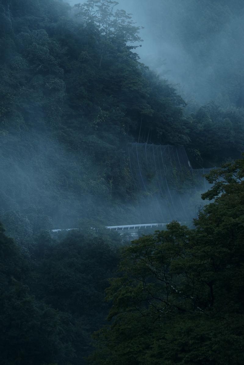 「霧深い山奥に見える車道とガードレール」の写真