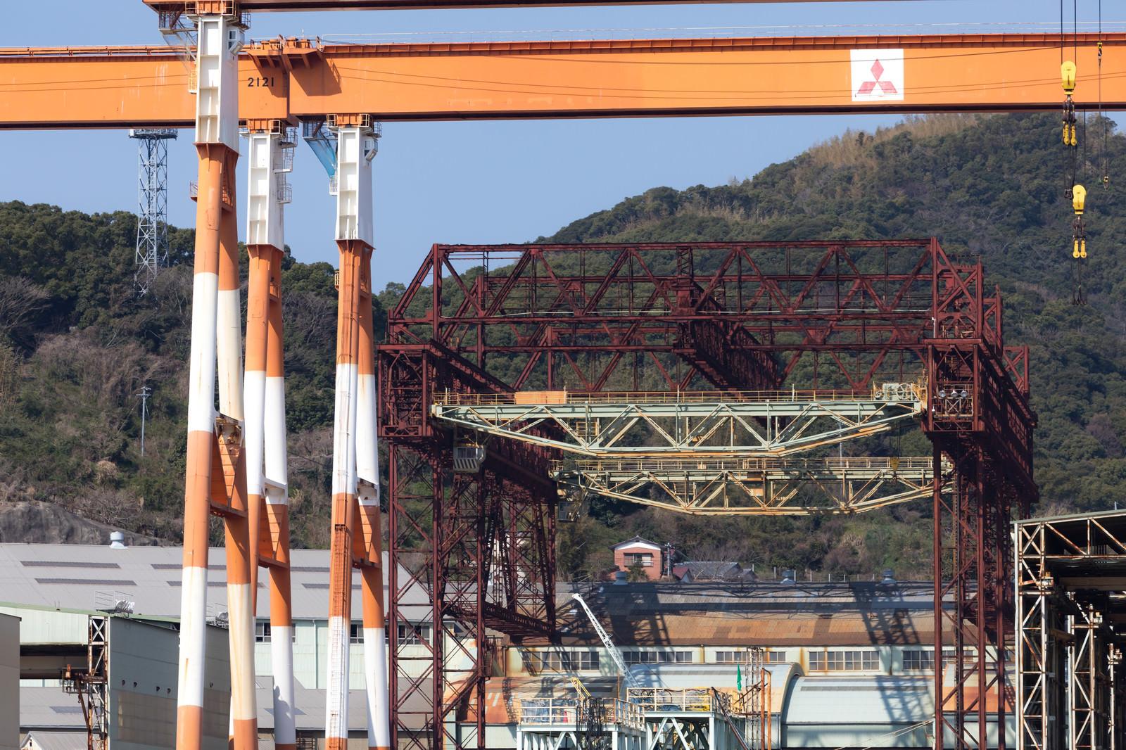 「戦艦武蔵が建造されたクレーン(三菱重工業造船所跡)」の写真