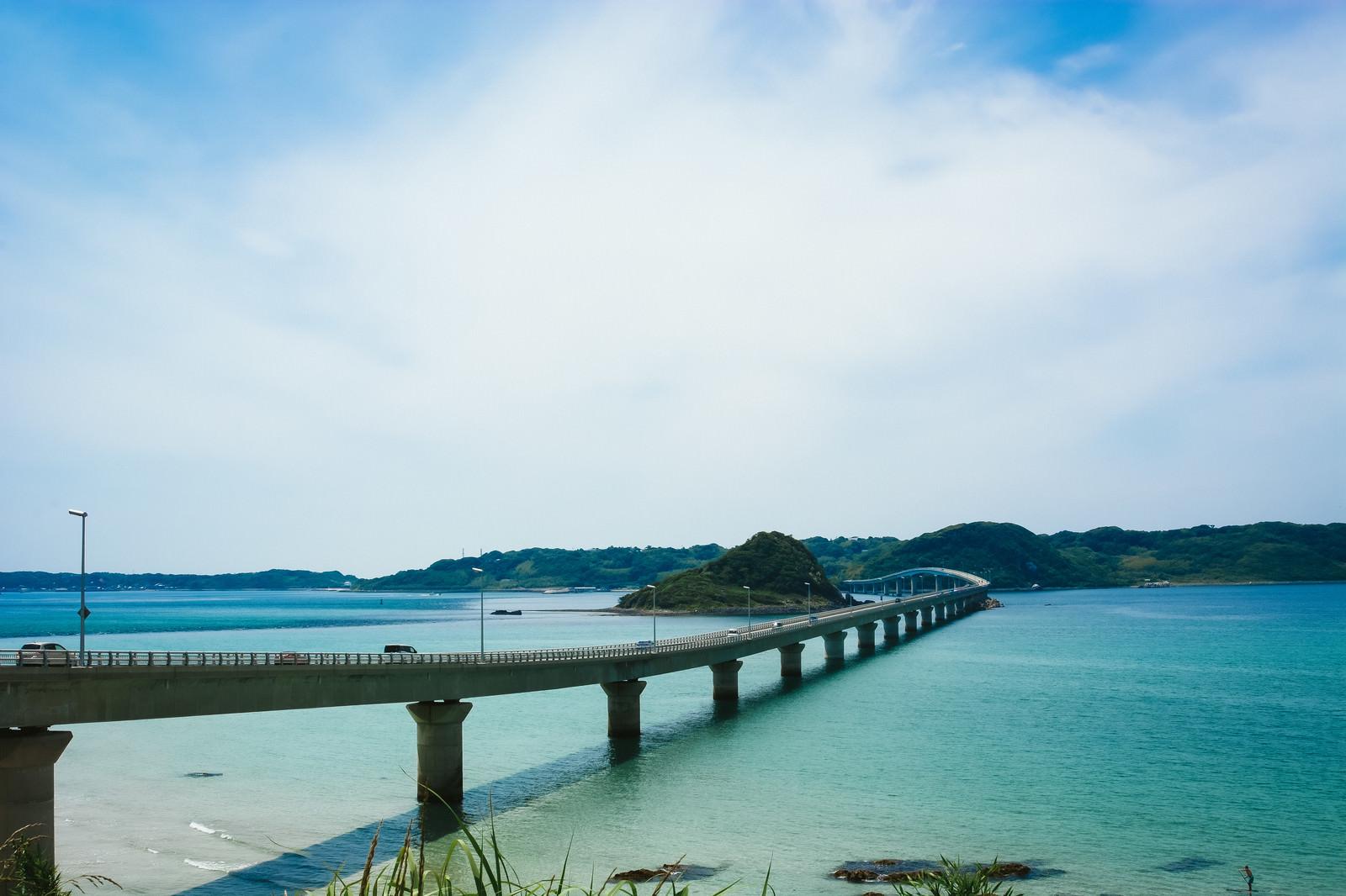「角島大橋(全長1,780 m)」の写真
