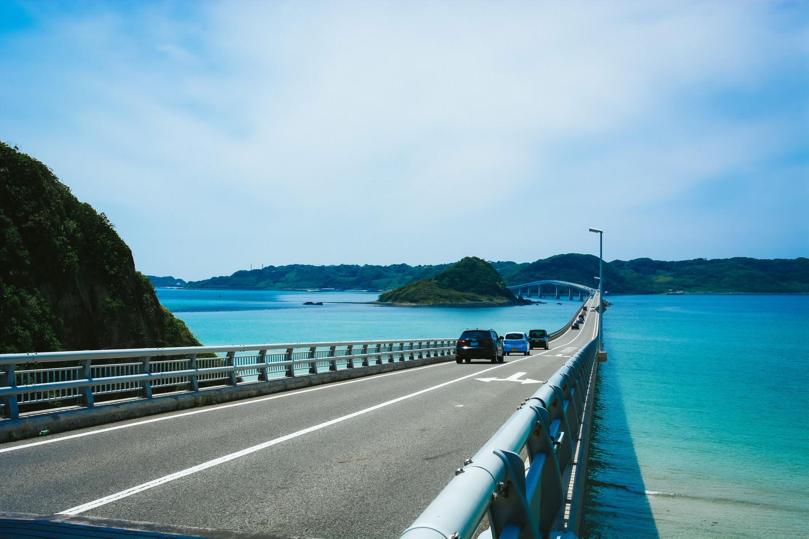 「公園のたもとから見た角島大橋」の写真