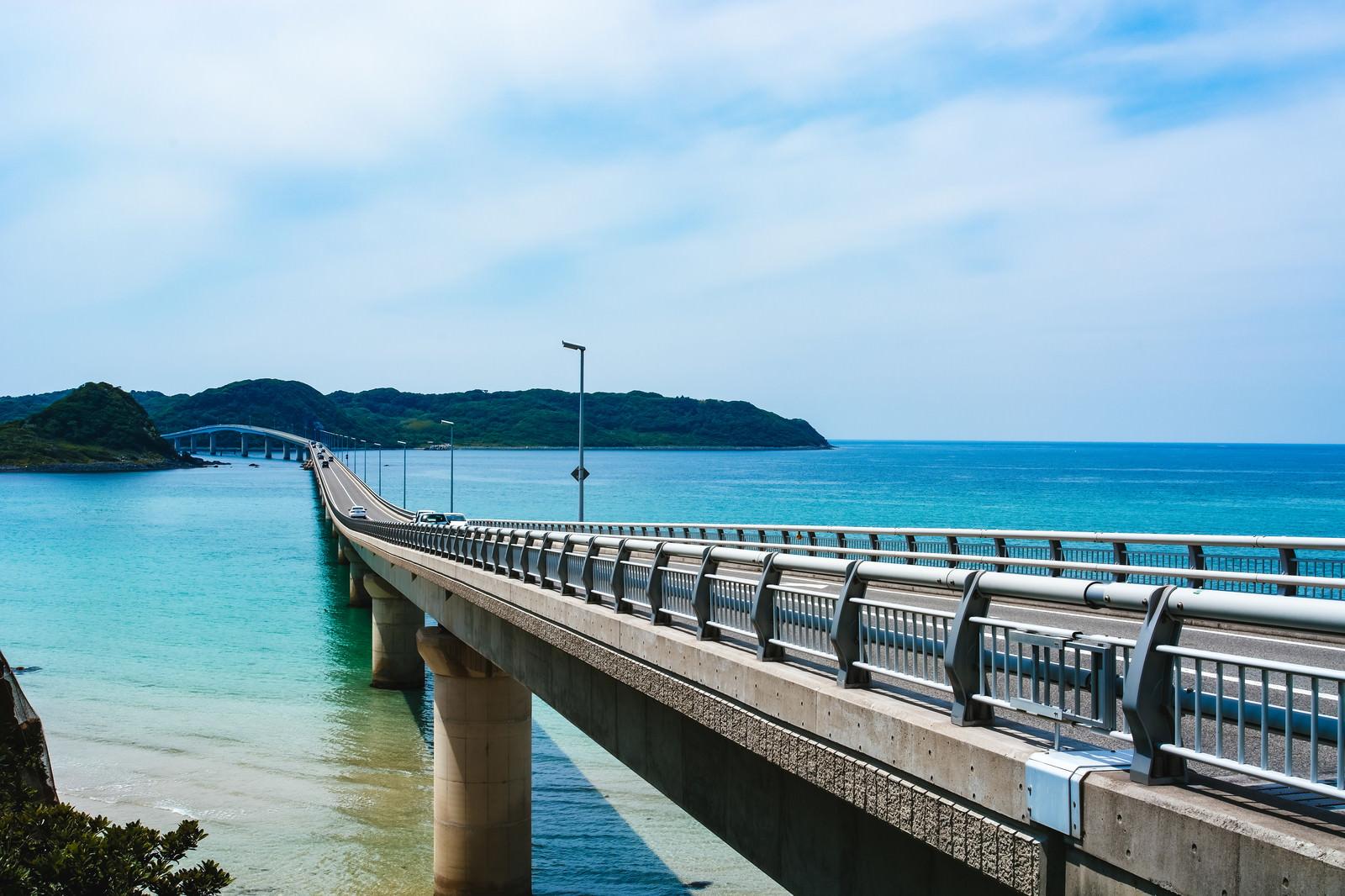 「角島大橋を左側から撮影」の写真