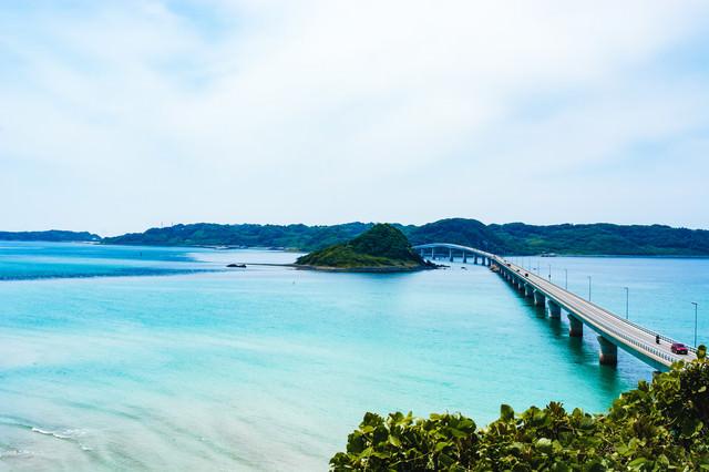 南側展望台より眺める角島大橋の写真