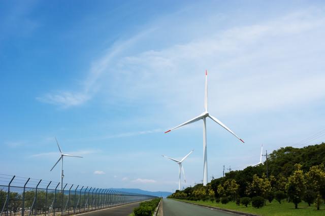 風車群に続く道の写真