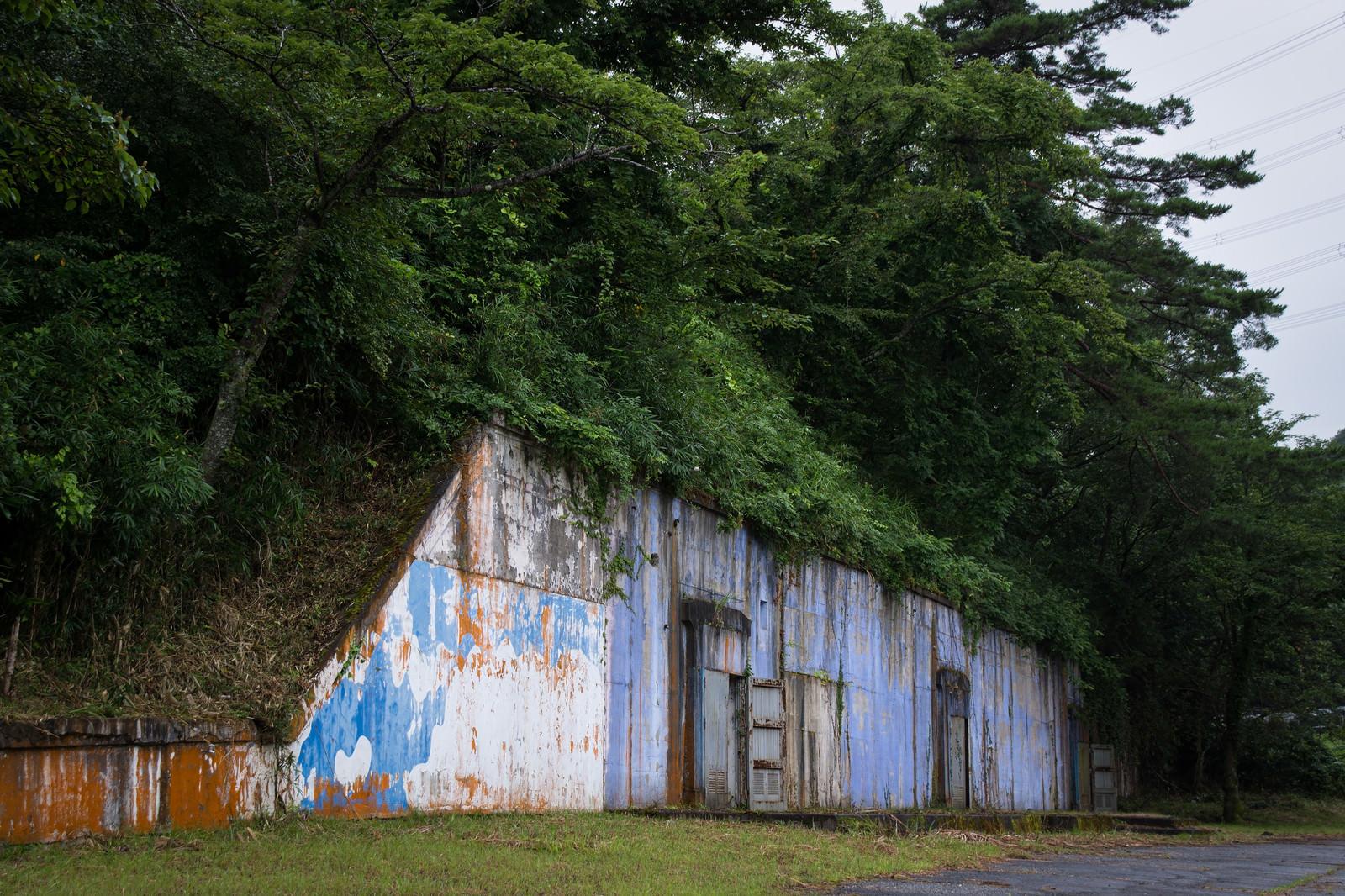 「遊園地だった頃はキレイに塗装されていたペンキが剥がれた火薬庫の壁と入り口」の写真